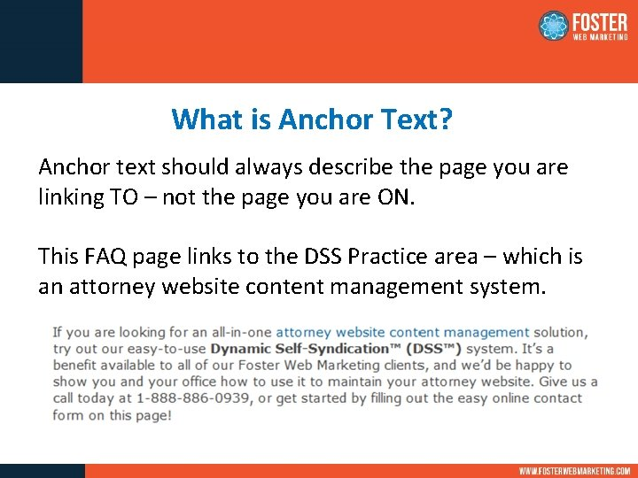 What is Anchor Text? Anchor text should always describe the page you are linking