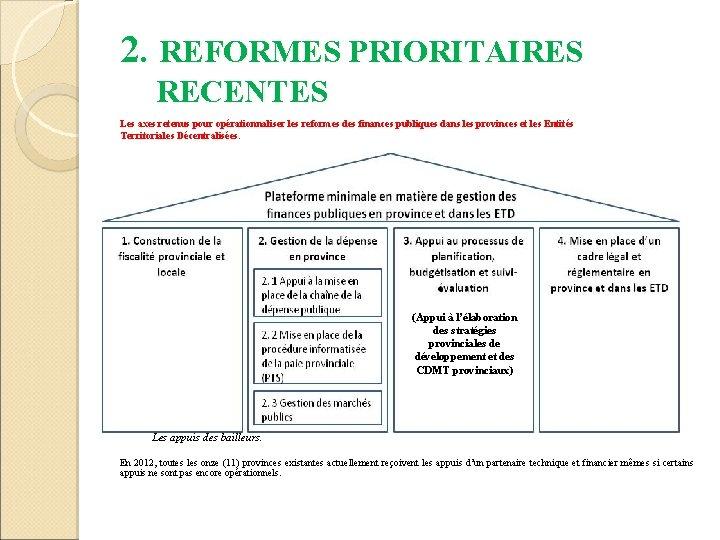 2. REFORMES PRIORITAIRES RECENTES Les axes retenus pour opérationnaliser les reformes des finances publiques