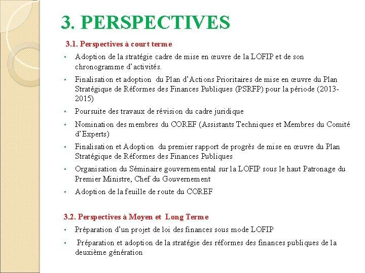 3. PERSPECTIVES 3. 1. Perspectives à court terme • Adoption de la stratégie cadre