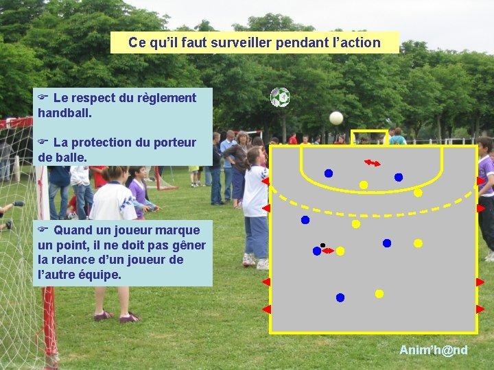 Ce qu'il faut surveiller pendant l'action F Le respect du règlement handball. F La