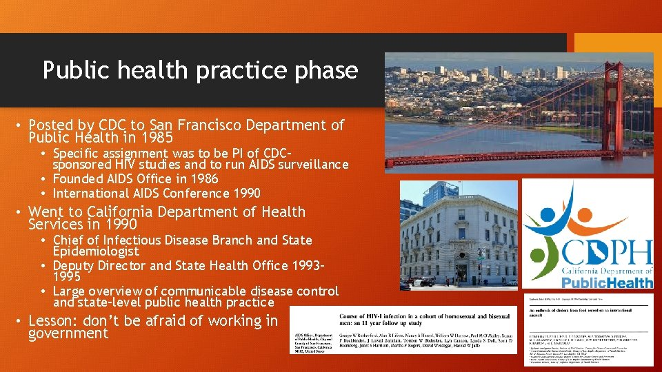 Public health practice phase • Posted by CDC to San Francisco Department of Public