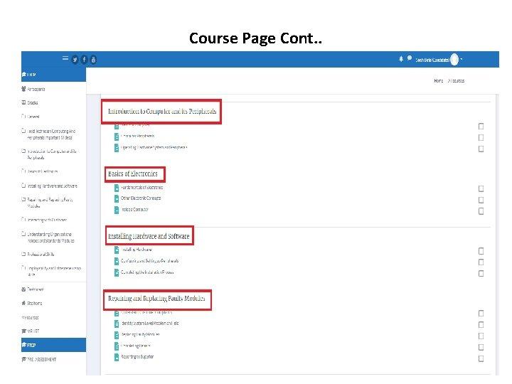 Course Page Cont. .