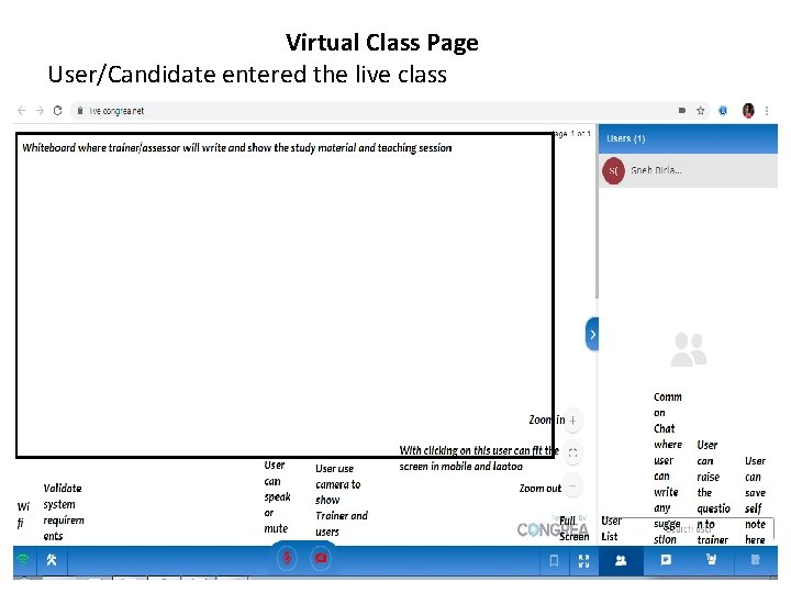 Virtual Class Page User/Candidate entered the live class