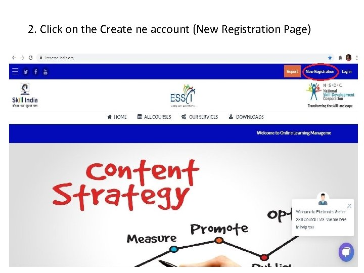 2. Click on the Create ne account (New Registration Page)
