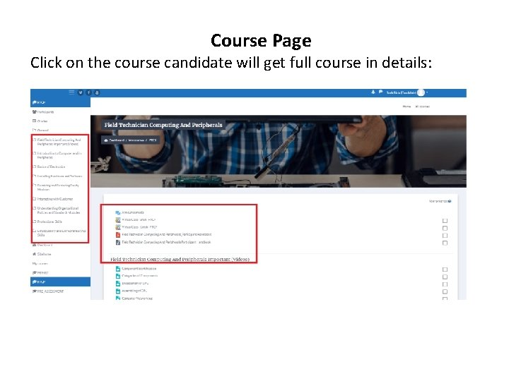 Course Page Click on the course candidate will get full course in details: