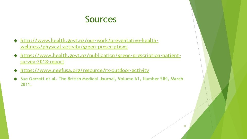 Sources http: //www. health. govt. nz/our-work/preventative-healthwellness/physical-activity/green-prescriptions https: //www. health. govt. nz/publication/green-prescription-patientsurvey-2018 -report https: //www.