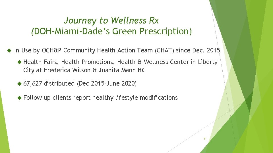 Journey to Wellness Rx (DOH-Miami-Dade's Green Prescription) In Use by OCH&P Community Health Action