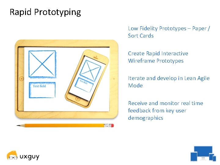 Rapid Prototyping Low Fidelity Prototypes – Paper / Sort Cards Create Rapid Interactive Wireframe