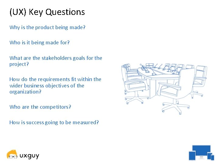 (UX) Key Questions Why is the product being made? Who is it being made