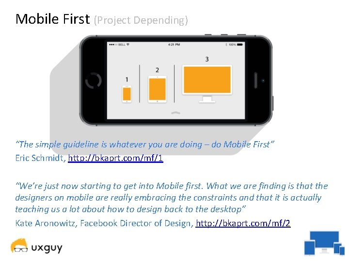 """Mobile First (Project Depending) """"The simple guideline is whatever you are doing – do"""