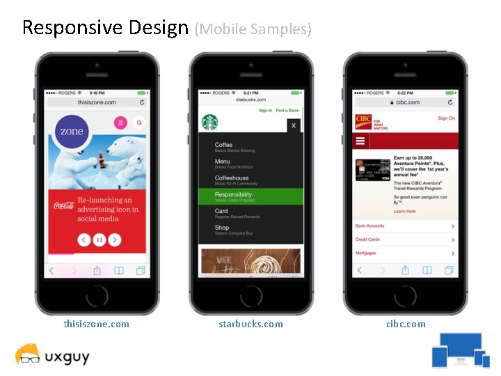 Responsive Design (Mobile Samples) thisiszone. com starbucks. com cibc. com