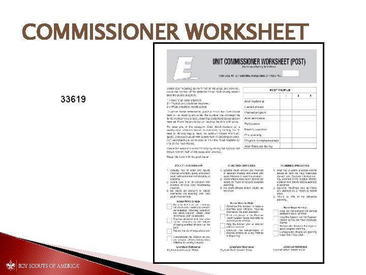 COMMISSIONER WORKSHEET 33619