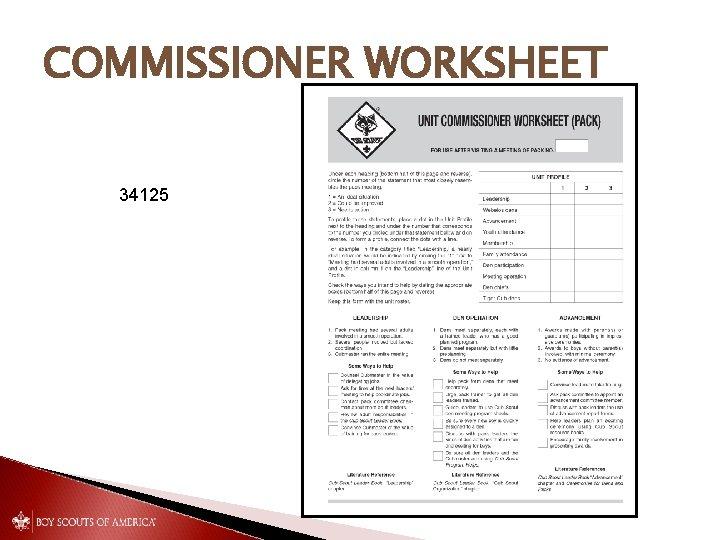 COMMISSIONER WORKSHEET 34125