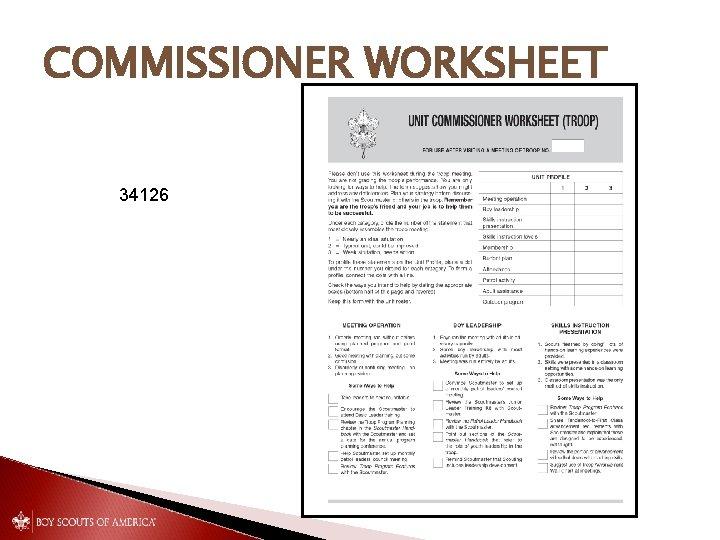 COMMISSIONER WORKSHEET 34126