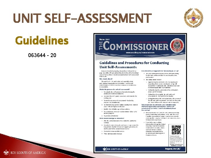 UNIT SELF-ASSESSMENT Guidelines 063644 - 20