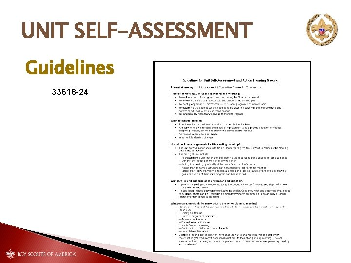 UNIT SELF-ASSESSMENT Guidelines 33618 -24