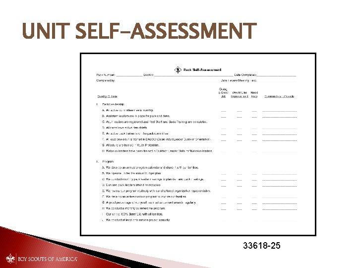 UNIT SELF-ASSESSMENT 33618 -25