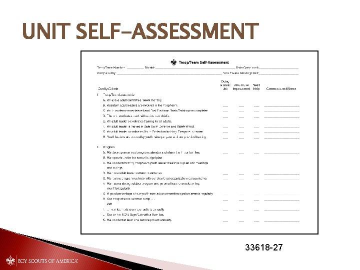UNIT SELF-ASSESSMENT 33618 -27