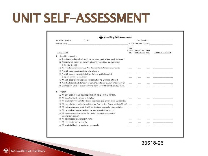 UNIT SELF-ASSESSMENT 33618 -29