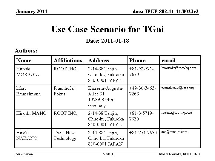 January 2011 doc. : IEEE 802. 11 -11/0023 r 2 Use Case Scenario for
