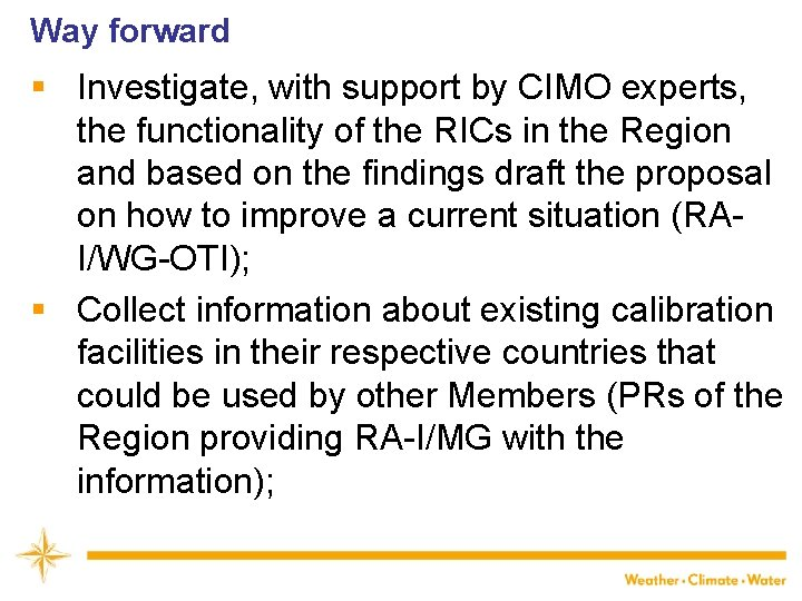 Way forward § Investigate, with support by CIMO experts, the functionality of the RICs