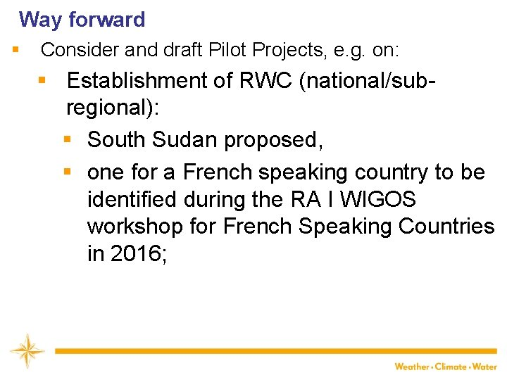 Way forward § Consider and draft Pilot Projects, e. g. on: § Establishment of
