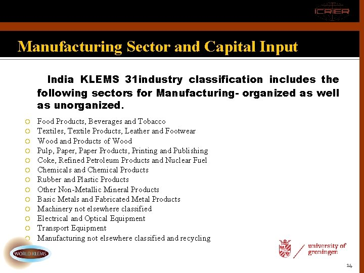 Manufacturing Sector and Capital Input India KLEMS 31 industry classification includes the following sectors