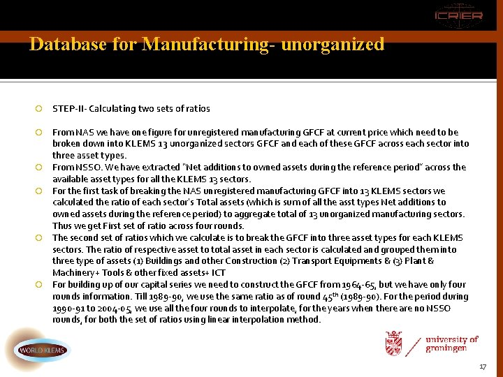 Database for Manufacturing- unorganized STEP-II- Calculating two sets of ratios From NAS we have