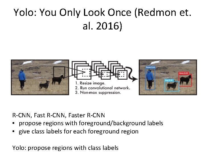 Yolo: You Only Look Once (Redmon et. al. 2016) R-CNN, Faster R-CNN • propose