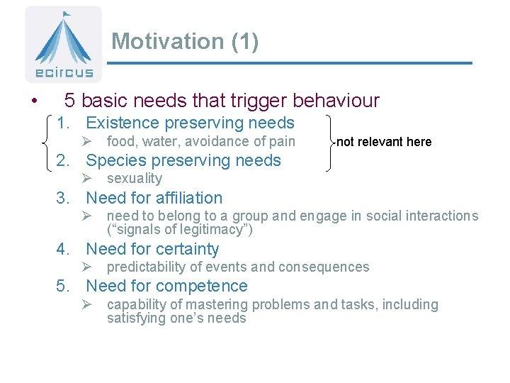 Motivation (1) • 5 basic needs that trigger behaviour 1. Existence preserving needs Ø