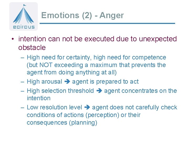 Emotions (2) - Anger • intention can not be executed due to unexpected obstacle