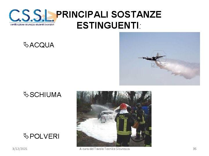 LE SOSTANZE ESTINGUENTI PRINCIPALI SOSTANZE ESTINGUENTI: ÄACQUA ÄSCHIUMA ÄPOLVERI 3/12/2021 A cura del Tavolo