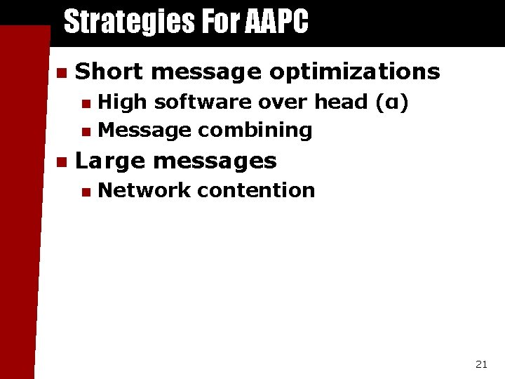 Strategies For AAPC n Short message optimizations High software over head (α) n Message