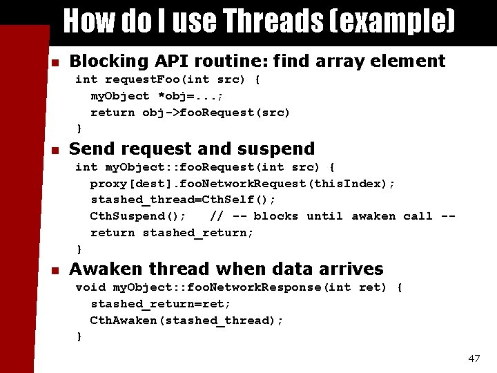 How do I use Threads (example) n Blocking API routine: find array element int