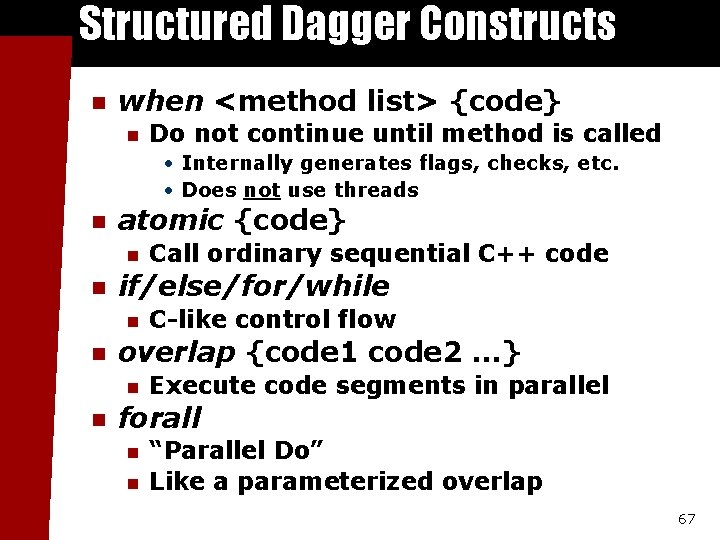 Structured Dagger Constructs n when <method list> {code} n Do not continue until method