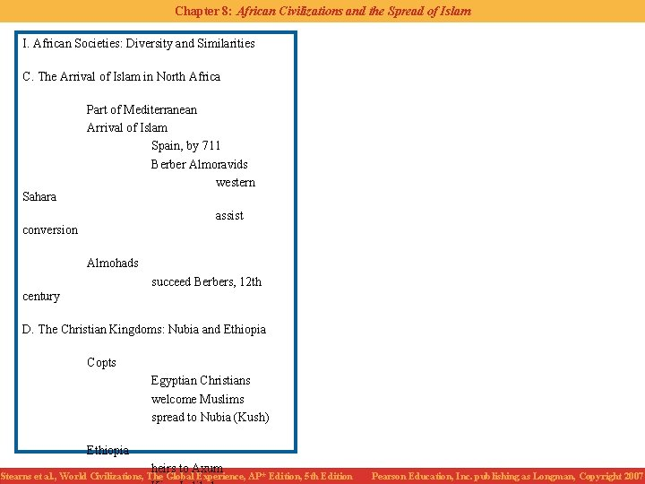 Chapter 8: African Civilizations and the Spread of Islam I. African Societies: Diversity and