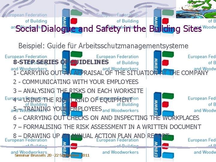 Social Dialogue and Safety in the Building Sites Beispiel: Guide für Arbeitsschutzmanagementsysteme 8 -STEP