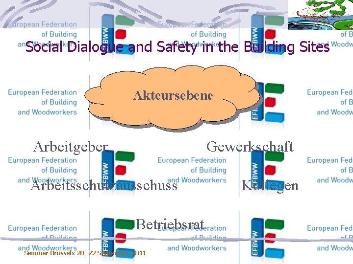 Social Dialogue and Safety in the Building Sites Akteursebene Arbeitgeber Gewerkschaft Arbeitsschutzausschuss Betriebsrat Seminar