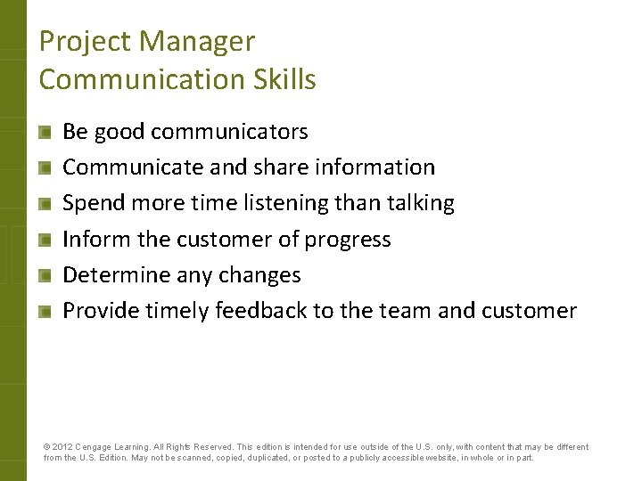 Project Manager Communication Skills Be good communicators Communicate and share information Spend more time
