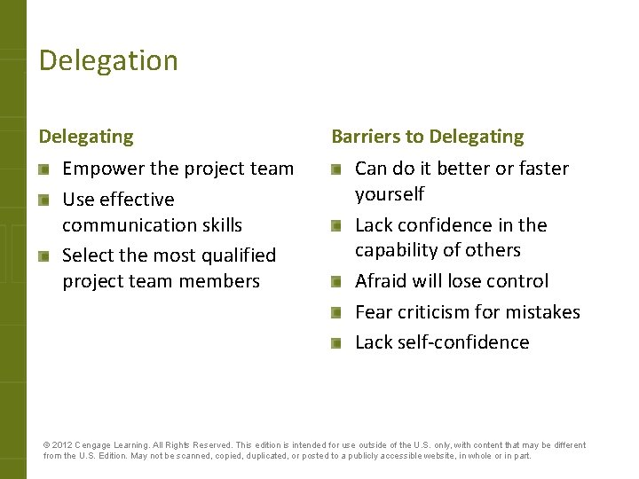 Delegation Delegating Empower the project team Use effective communication skills Select the most qualified