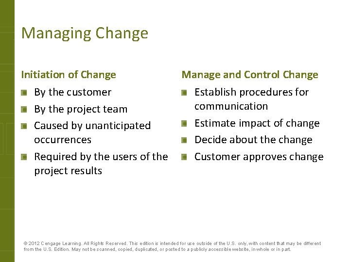 Managing Change Initiation of Change By the customer By the project team Caused by