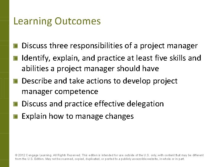 Learning Outcomes Discuss three responsibilities of a project manager Identify, explain, and practice at