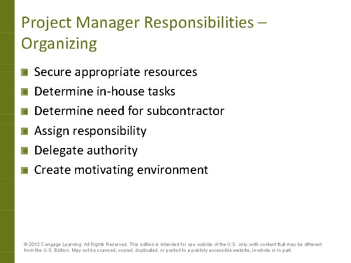 Project Manager Responsibilities – Organizing Secure appropriate resources Determine in-house tasks Determine need for