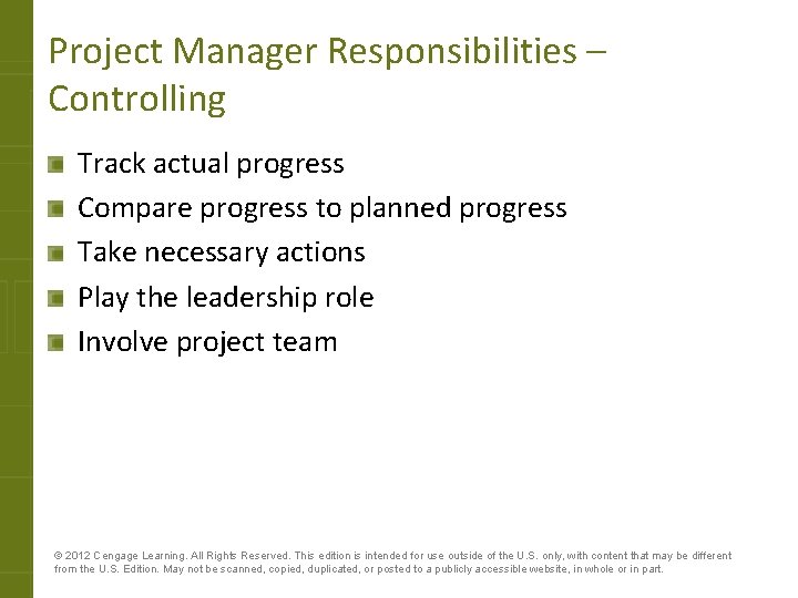 Project Manager Responsibilities – Controlling Track actual progress Compare progress to planned progress Take