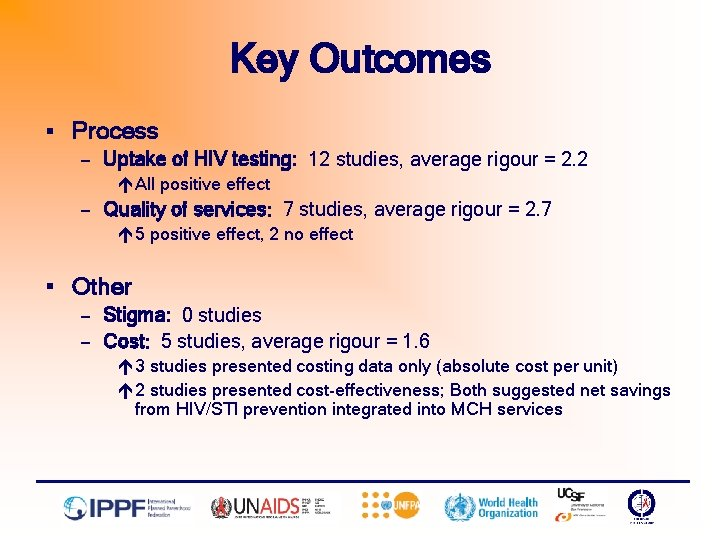 Key Outcomes § Process — Uptake of HIV testing: 12 studies, average rigour =