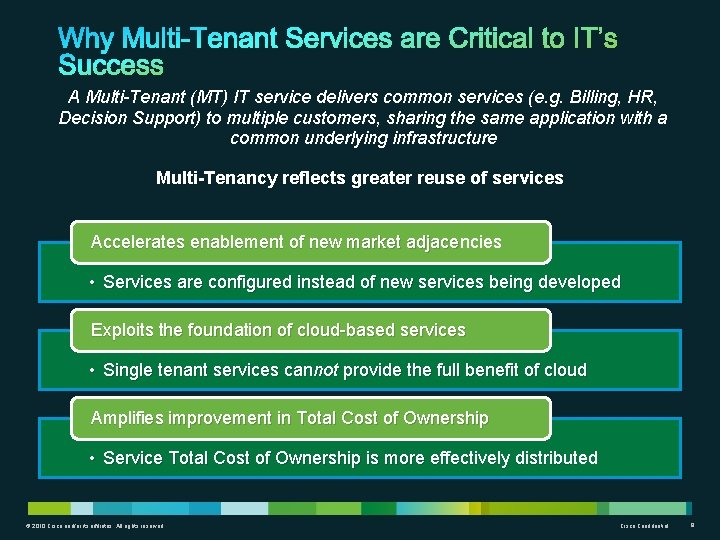 A Multi-Tenant (MT) IT service delivers common services (e. g. Billing, HR, Decision Support)