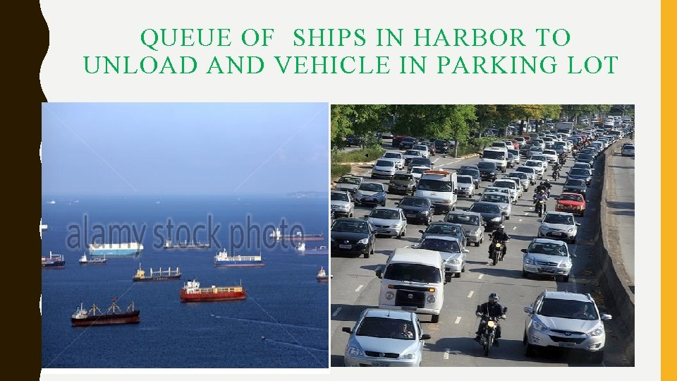 QUEUE OF SHIPS IN HARBOR TO UNLOAD AND VEHICLE IN PARKING LOT