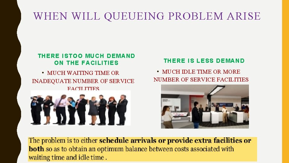 WHEN WILL QUEUEING PROBLEM ARISE THERE ISTOO MUCH DEMAND ON THE FACILITIES • MUCH