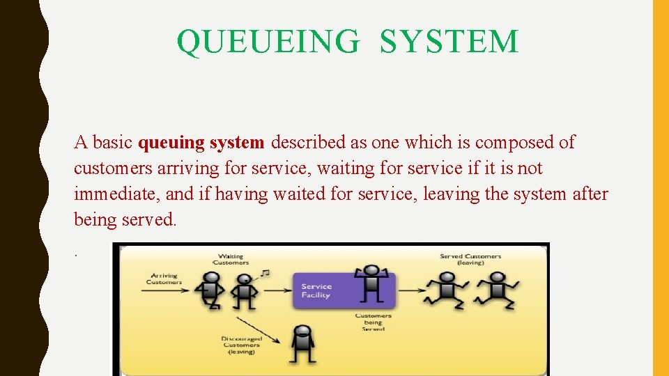 QUEUEING SYSTEM A basic queuing system described as one which is composed of customers