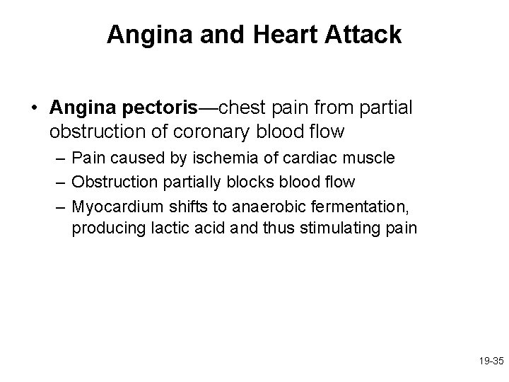 Angina and Heart Attack • Angina pectoris—chest pain from partial obstruction of coronary blood